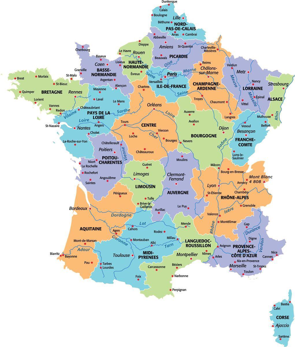 Épinglé par Olivier Fournier sur France Carte de france