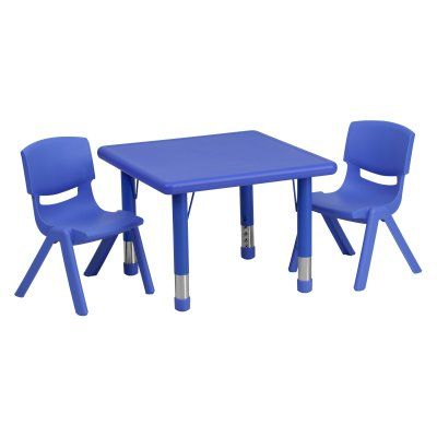 Flash Furniture 24 in. Square Adjustable Plastic Activity Table with 2 Chairs Blue - YU-YCX-0023-2-SQR-TBL-BLUE-R-GG, Durable