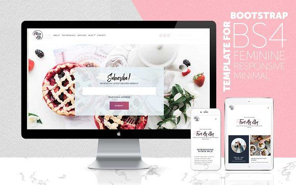HTML & BS4 Feminine Website Template | Template, Website themes and ...