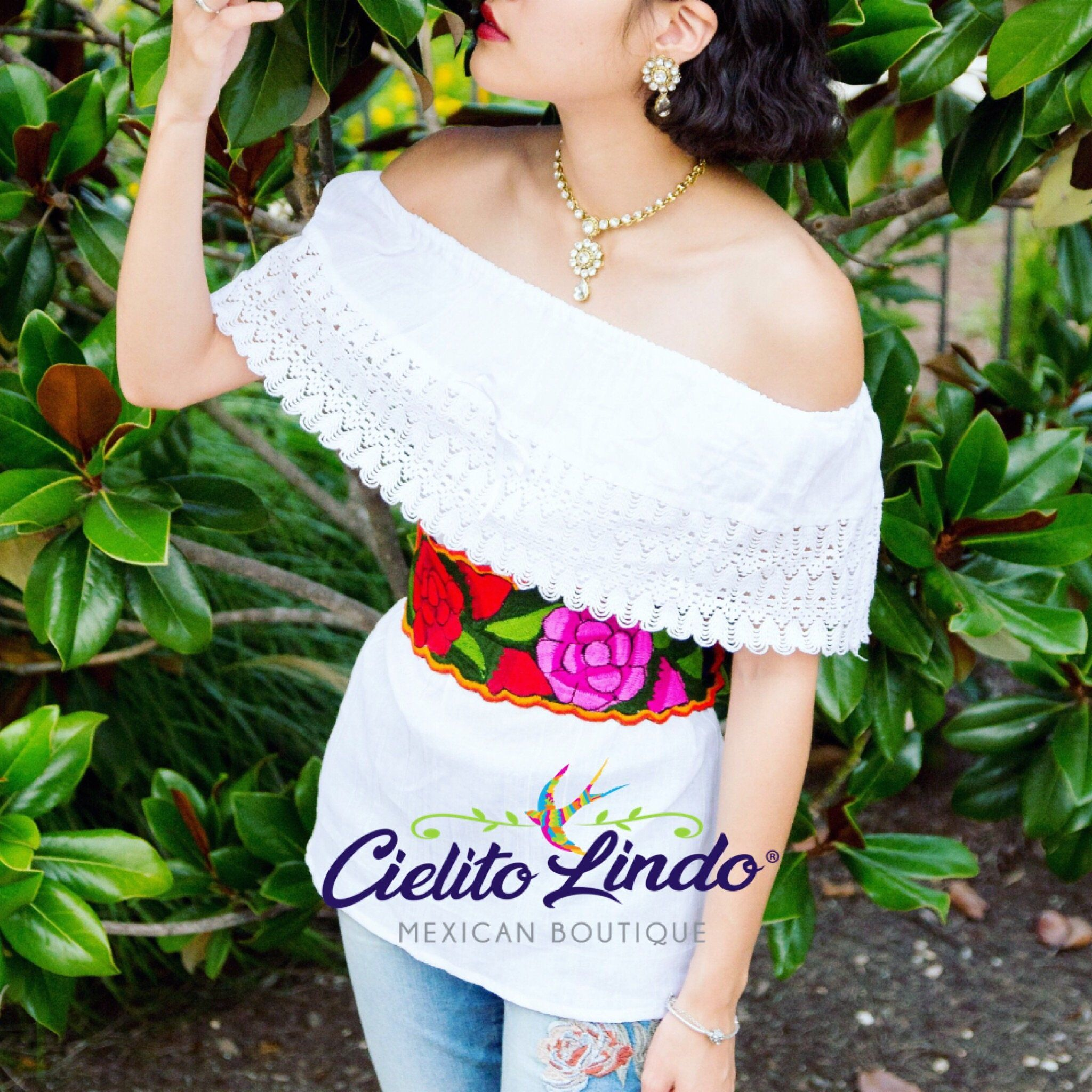 Colorful Mexican Blouse Belt Included Floral Campesino Blouse Independence Day Off the Shoulder Blouse Fiestas Patrias Campesino Blouse