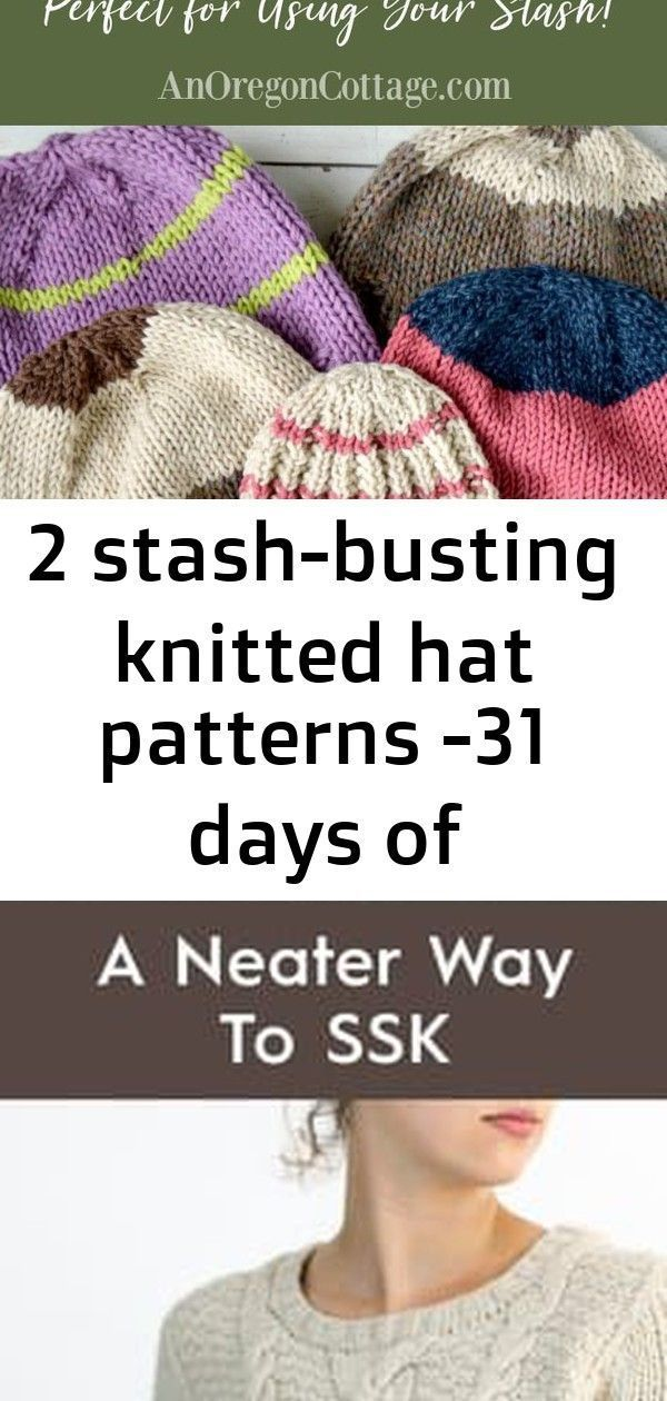 Photo of 2 stash-busting knitted hat patterns -31 days of handmade gifts :  Two easy and …