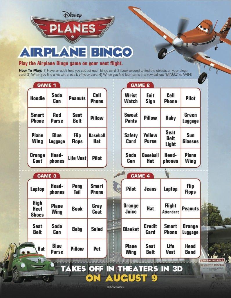 Free Disney Planes Bingo Printable Planes Birthday Party Disney Planes Birthday Planes Birthday