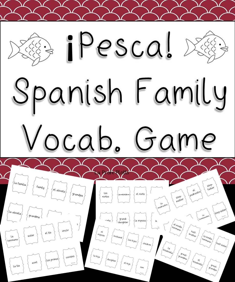 Spanish Family Vocab. ¡Pesca! (Go Fish) Game | Memorys, For! and Fish