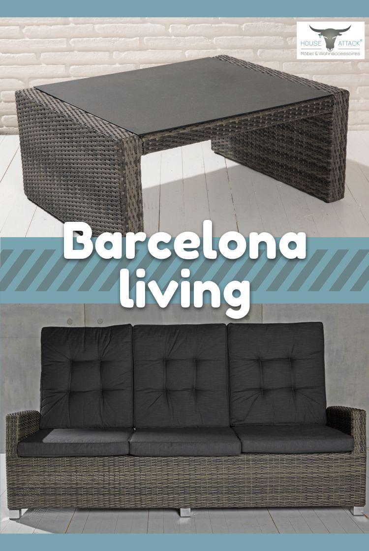 3 Und Living In GrauPolyrattan Couchtisch Sofa Barcelona Sitzer bvf6gyY7