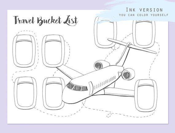 Travel Bucket List do druku arkusz podróży Wstaw Planer podróży punktor arkusz strona lista wiaderka szablon PDF