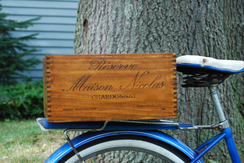 Bike Cargo Box Reclaimed Wine Crate Rear Mount Wood Box