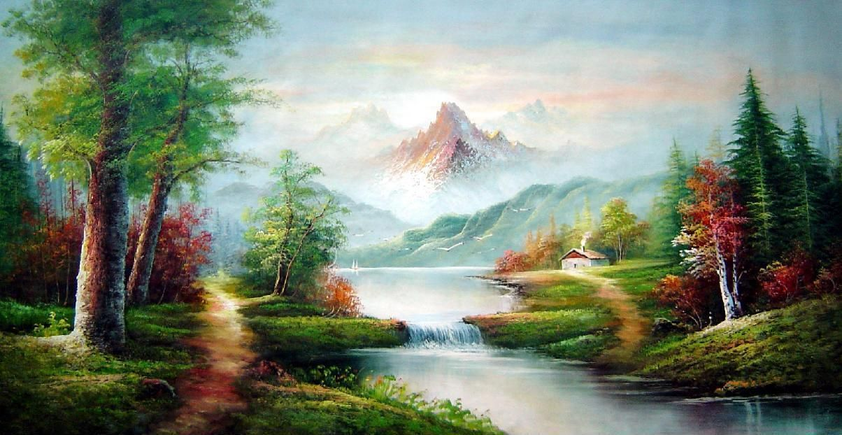 Scenic View Of Quiet Lake Area Oil Painting Landscape River Naturalism Scenery Paintings Landscape Paintings Oil Painting Landscape