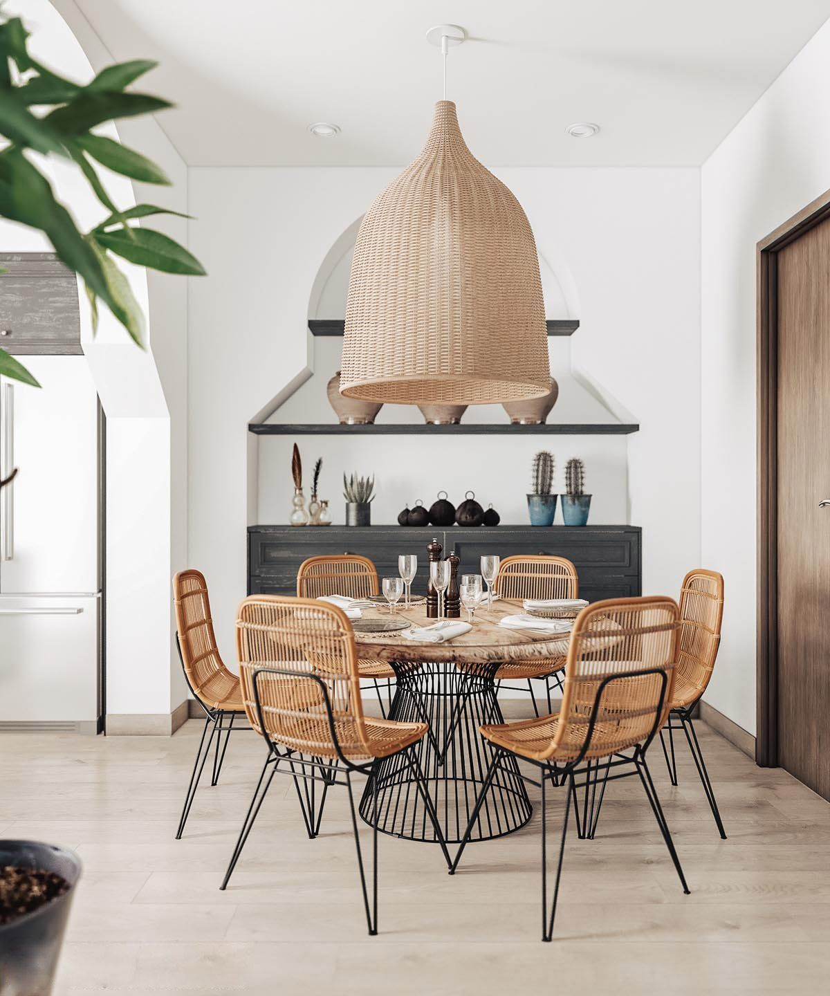 The Dining Area Is Anchored In Front Of A Beautiful Architectural Alcove With The Help Of Rustic Dining Room Farmhouse Dining Room Table Farmhouse Dining Room