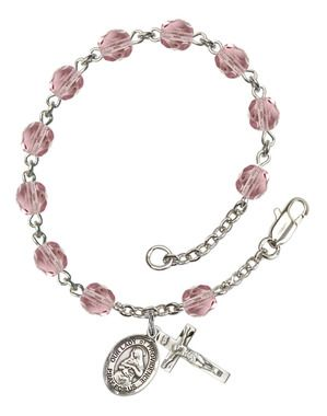 Our Lady of Providence Silver-Plated Rosary Bracelet with 6mm Lite Amethyst Fire Polished beads