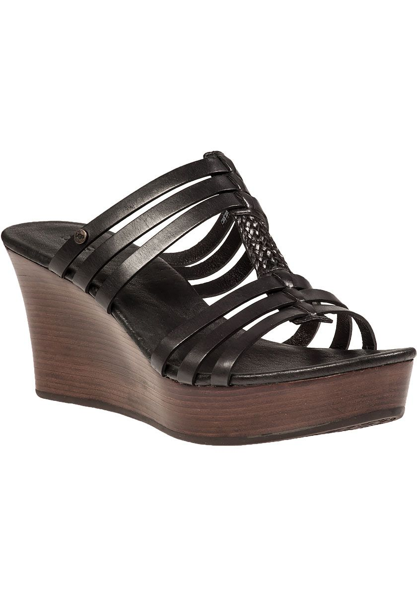 5ca69afdec3 Ugg Mattie Black Leather Wedge Sandal - Retail 45 The Pit 30 ...