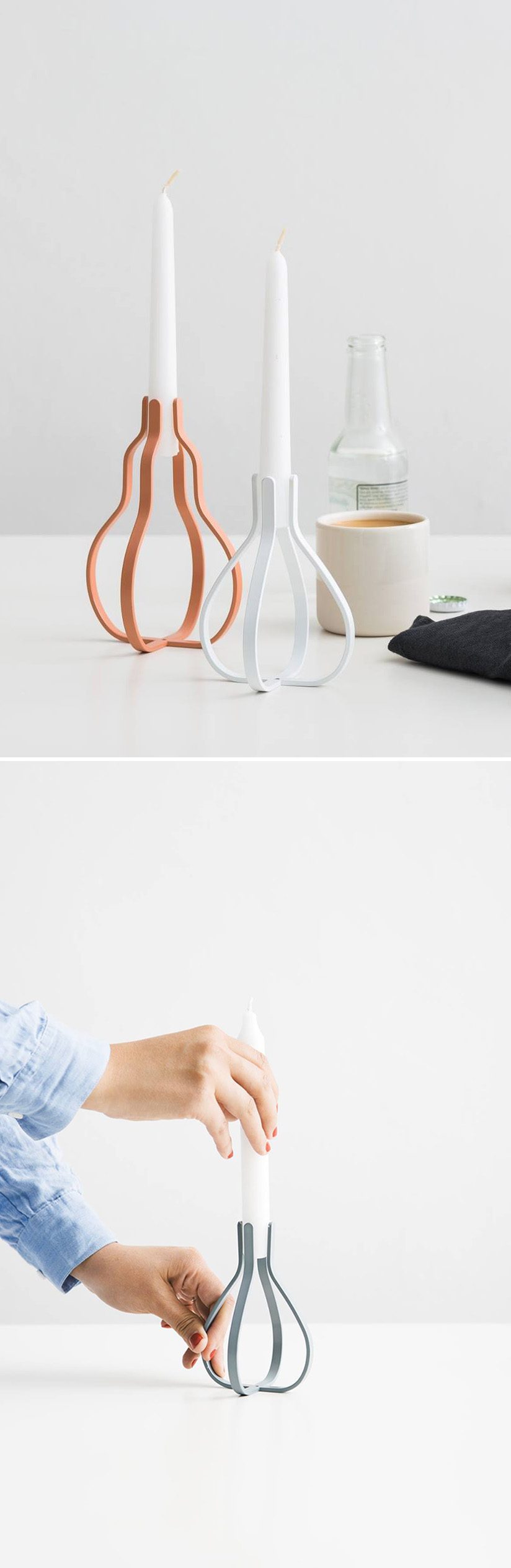 """Designed by Nendo, the Clip candle holder fulfils the Japanese firm's promise of providing the customer what they call """"a little '!' moment"""". Its fruit-inspired form is made from thin, painted steel with enough give to allow it to adapt to any candle diameter up to 20 mm. This means not only a greater choice of candles, but that the Clip itself takes on a slightly different shape depending on the size of candle you use. 