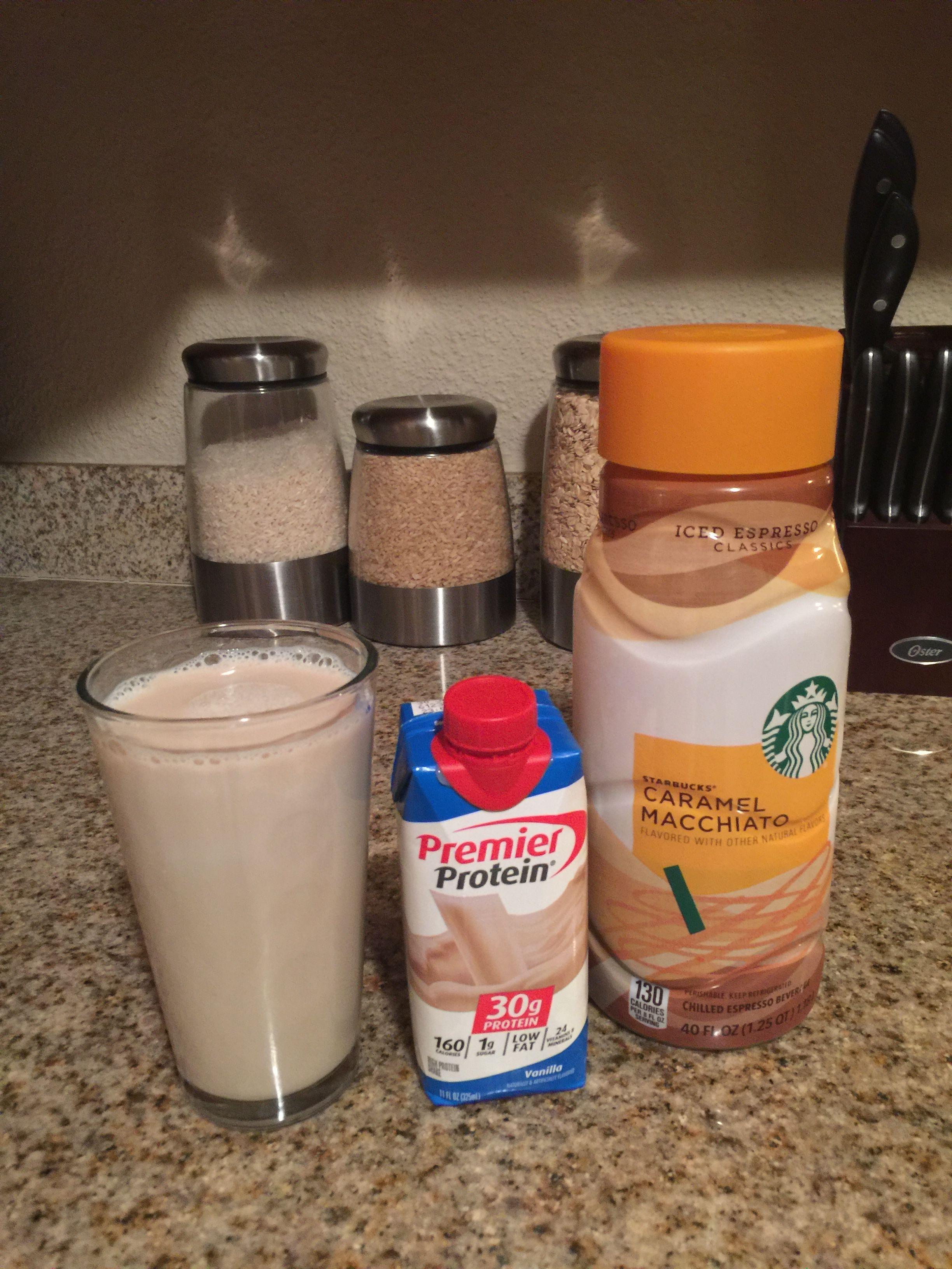 Delicious vanilla premium protein shake mixed with