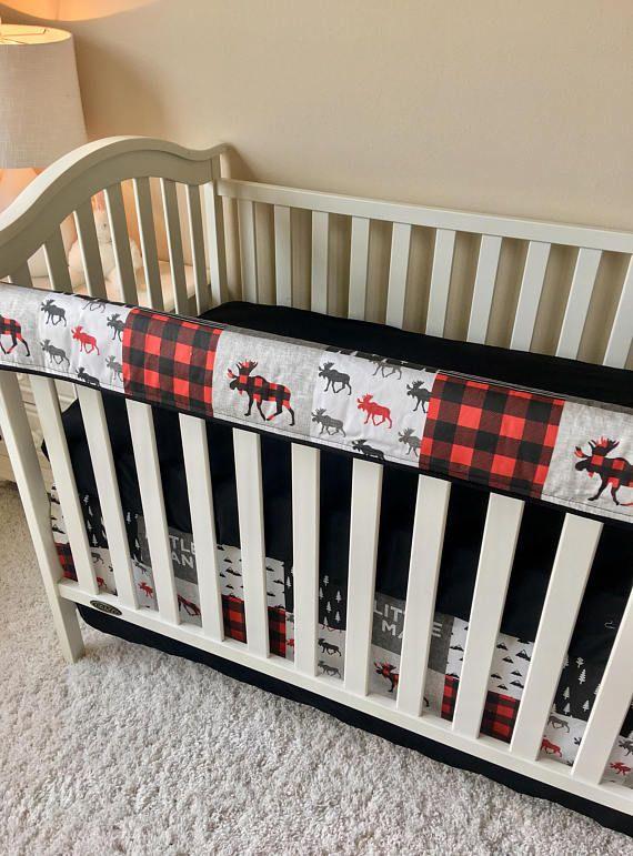 Red Moose Bumperless Bedding Baby Boy Crib Bedding Rustic Baby Boy Bedding Crib Rail Cover Bumperless Crib Bedding