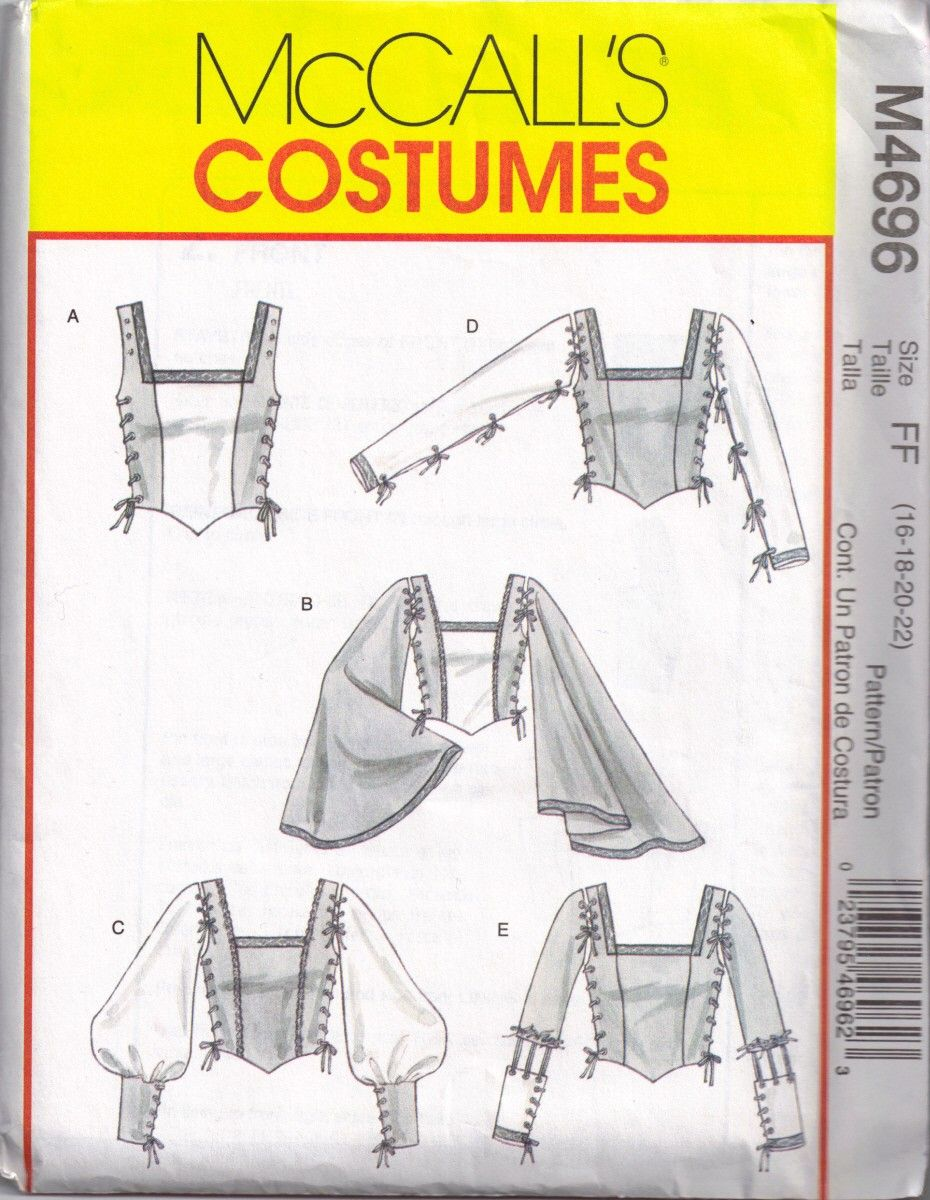 Sewing Pattern Steampunk Bell Sleeves McCalls 4696 Gothic ...