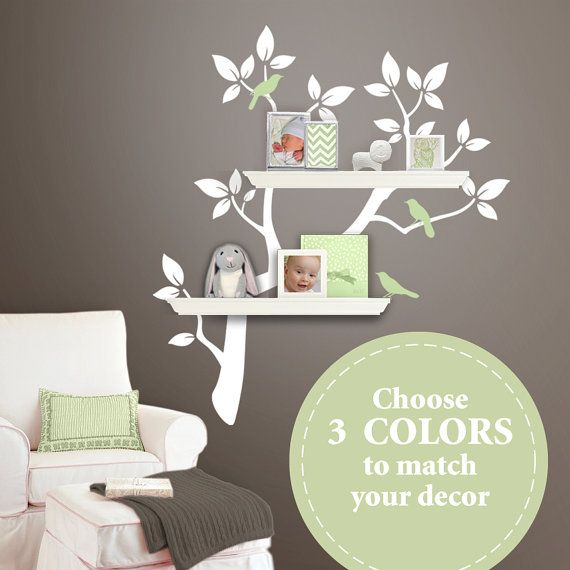 The Original Tree Branch Decal For Floating Shelves Tree Bookshelf Wall Decals Baby Nursery Wall Decor Nursery Wall Decor Tree Tree Branch Decal