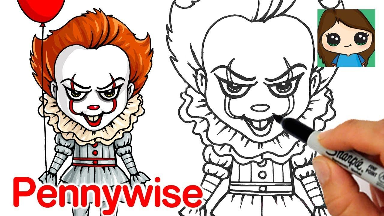 How To Draw Pennywise The Clown By Draw So Cute Cute Drawings