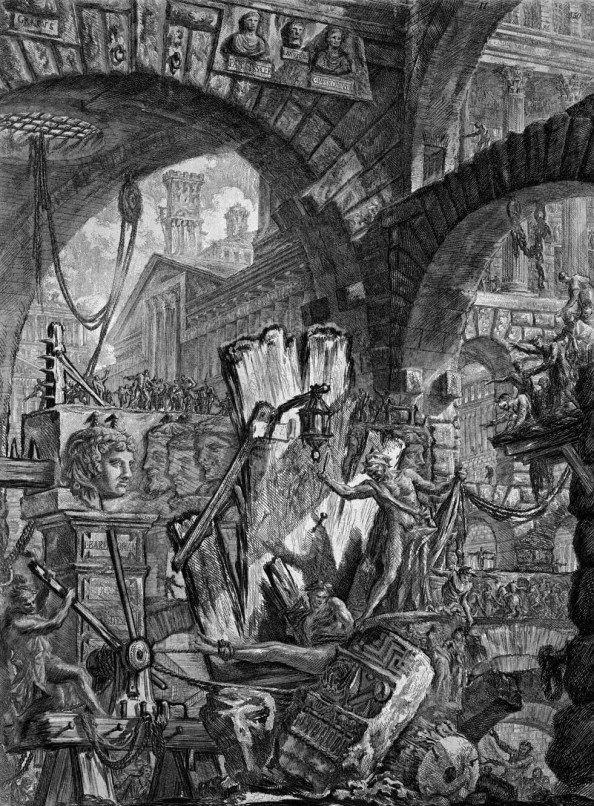 Giovanni Battista Piranesi.  Italien, föddes i Venedig och var väldigt tempramentsfull. Var mest verksam i Rom.  Pappa var stenhuggare.   Studerade men byggde ej mkt själv. Påverkade massor av arkitekter genom sina bilder.  Gjorde scenografier.   Kärlek till Rom och Roms förfall.  Blandade verklighet och fantasi.   Gjorde ettsningar av Rom.  Klassiska perspektiv, men också förvrängda. Verklighet men också blanda sig själv med historien.