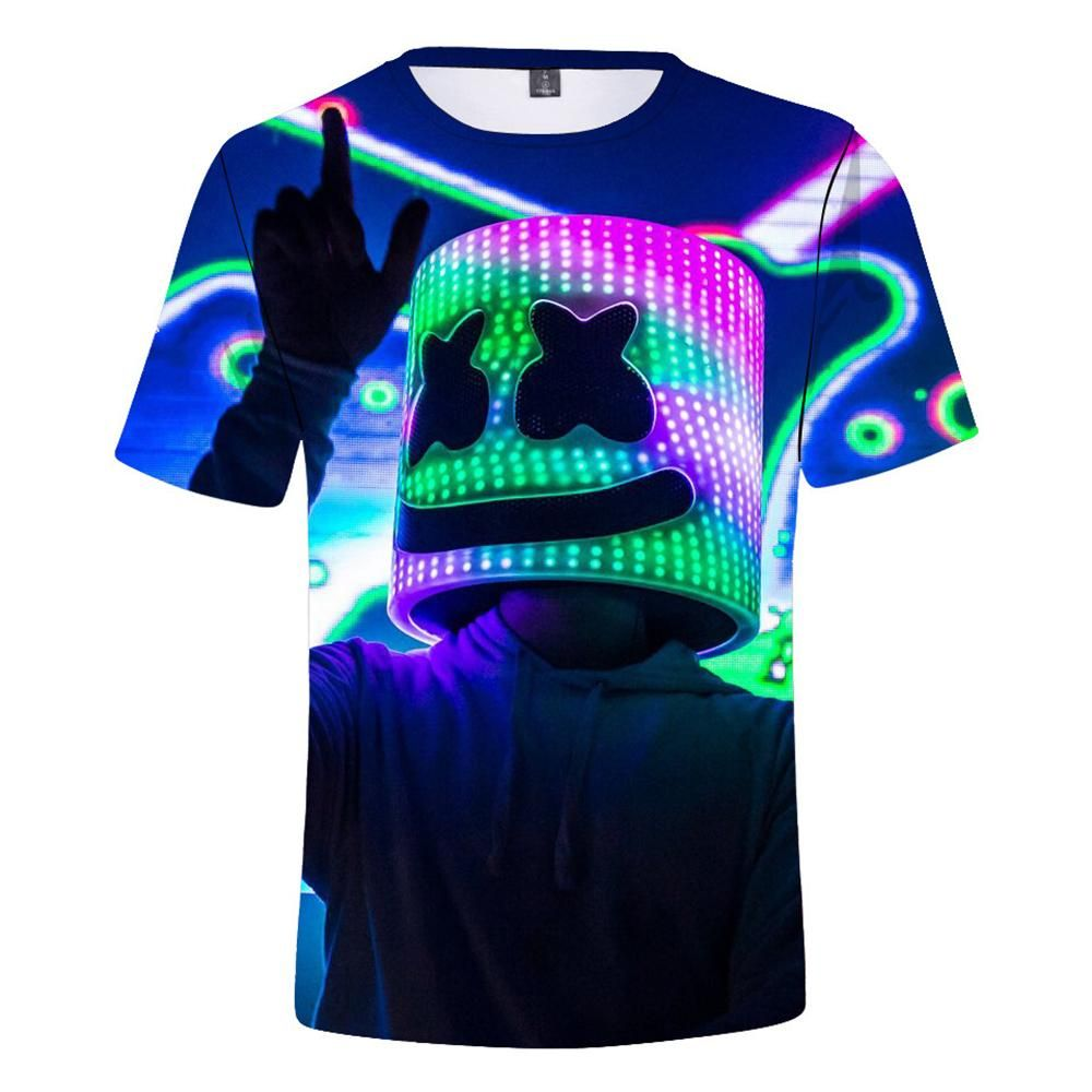Kids Marsh Mello T Shirt 3d Printing Short Sleeve Dj Music Party