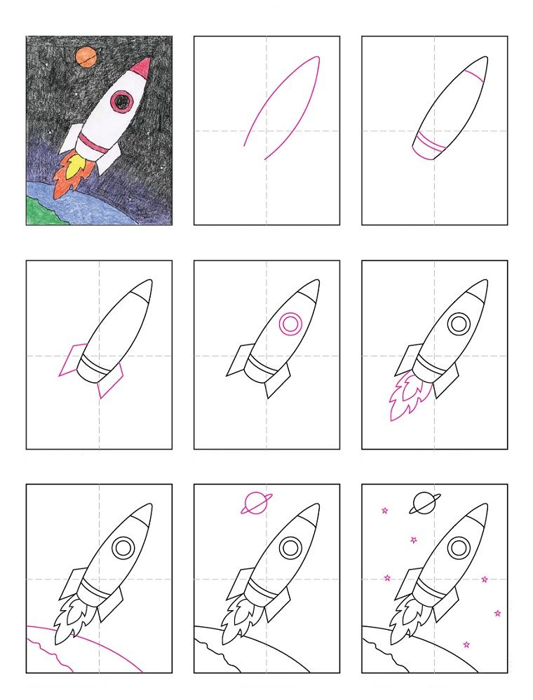 Tutorial per disegnare un razzo spaziale disegni per for Immagini disegni facili