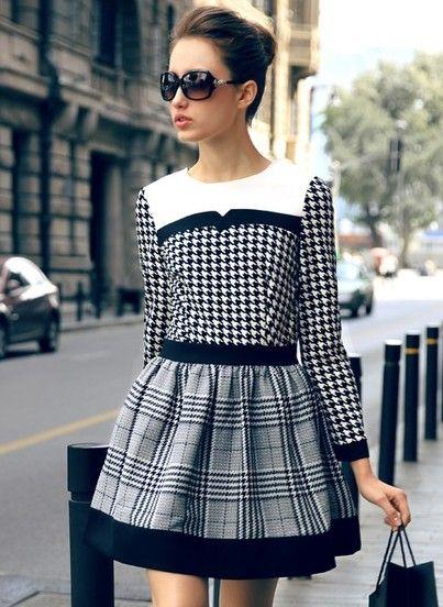 4930bccfa Vestido pata de gallo combinado cuadros manga larga-Blanco y negro fotos