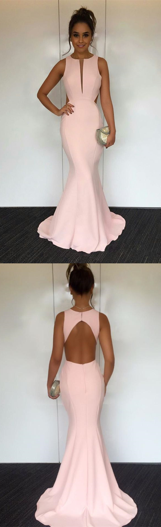 Mermaid round neck sweep train open back pearl pink prom dress