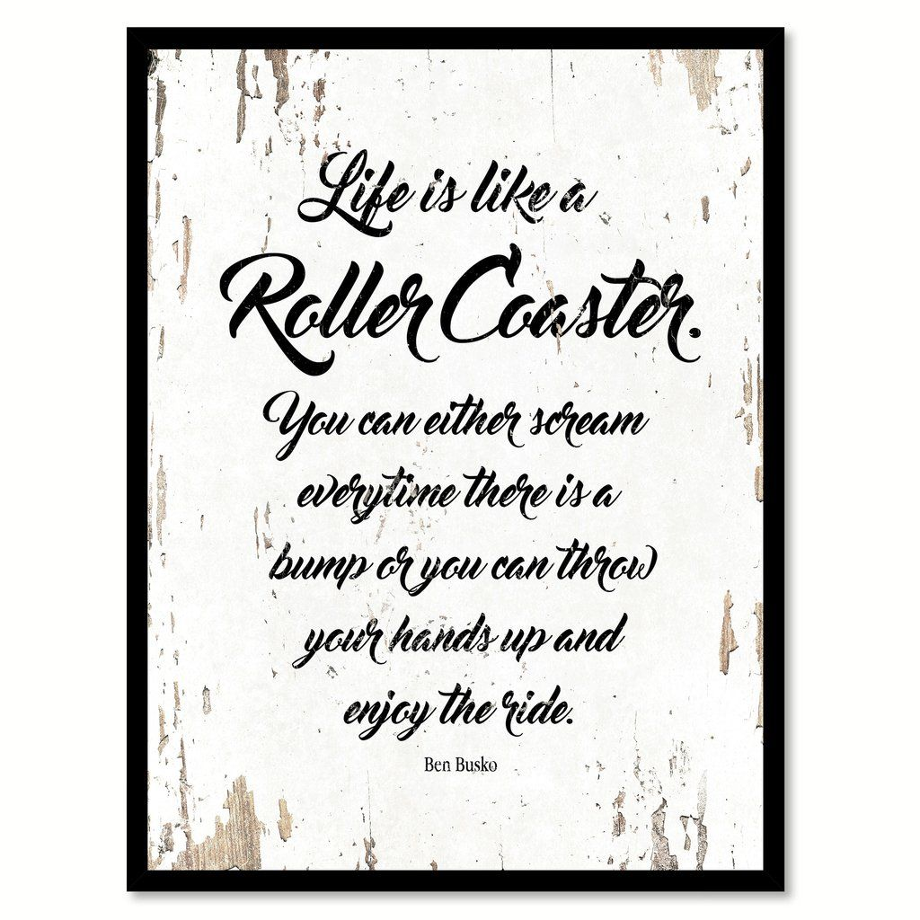 Quote Roller Life Is Like A Roller Coaster Quote Saying Framed Canvas Print