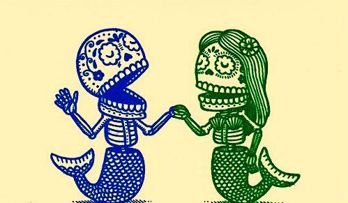 Boy and Girl, Mermaid, Mermaids, Skeleton, Skulls, Skull, Blue, Green, Blue and Green