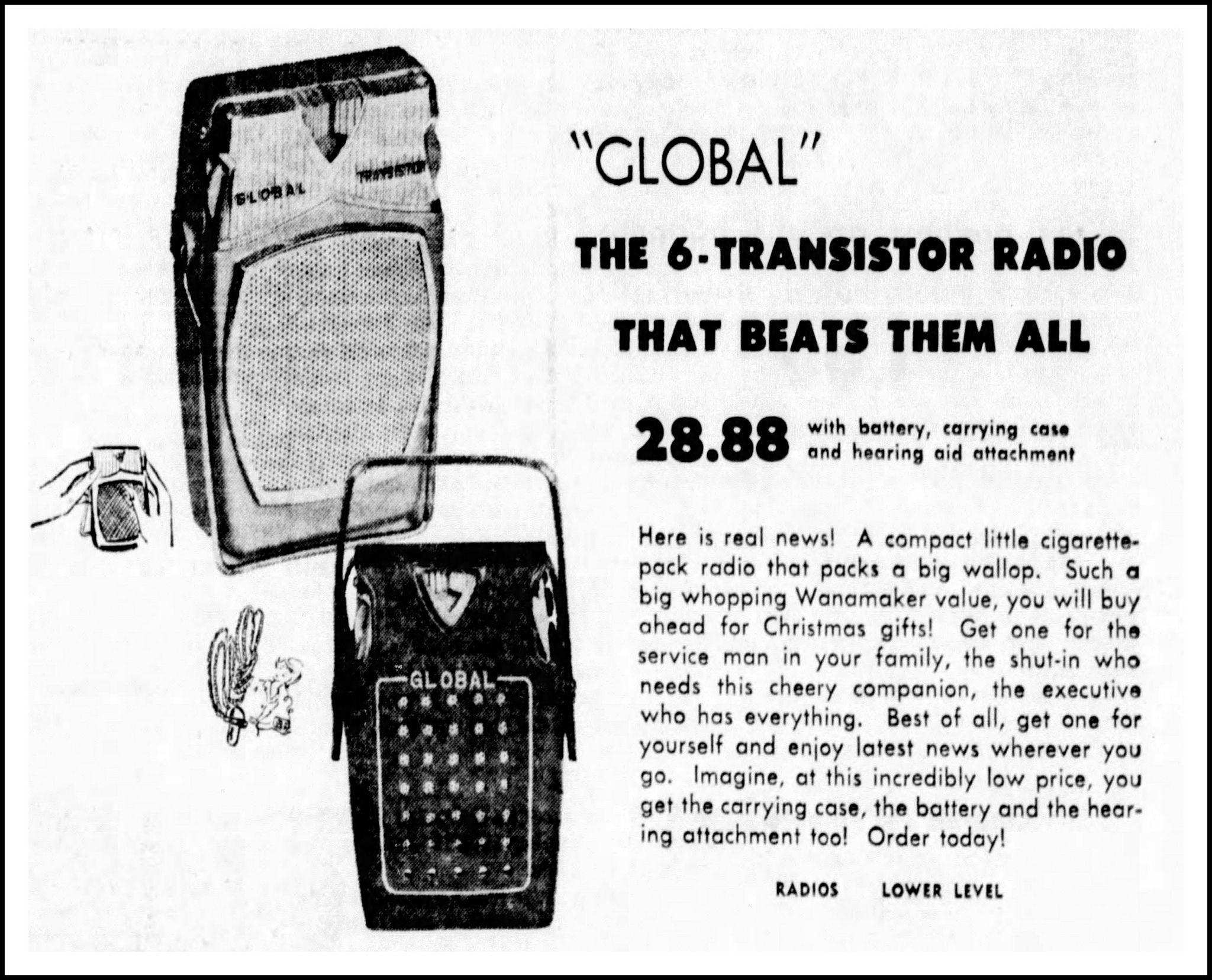 Vintage Advertising For The Global Model Gr 711 Transistor
