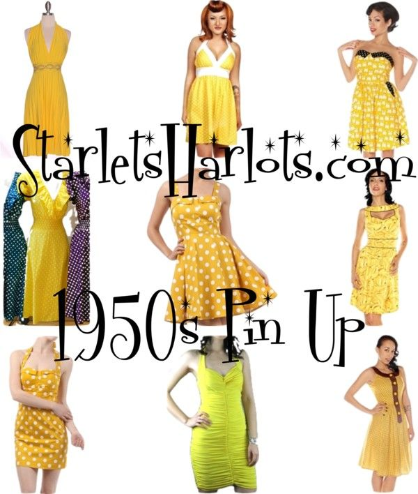 """Yellow Vintage Style Dresses"" by starlets-harlots on Polyvore"