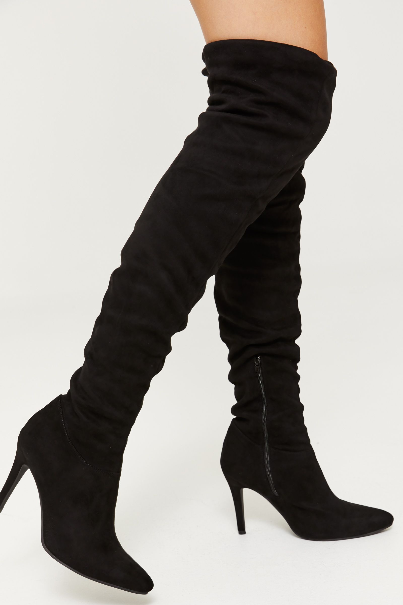 066f457947c35 Microsuede boots. Knee-high. Pointy toe. Short inside zipper ...
