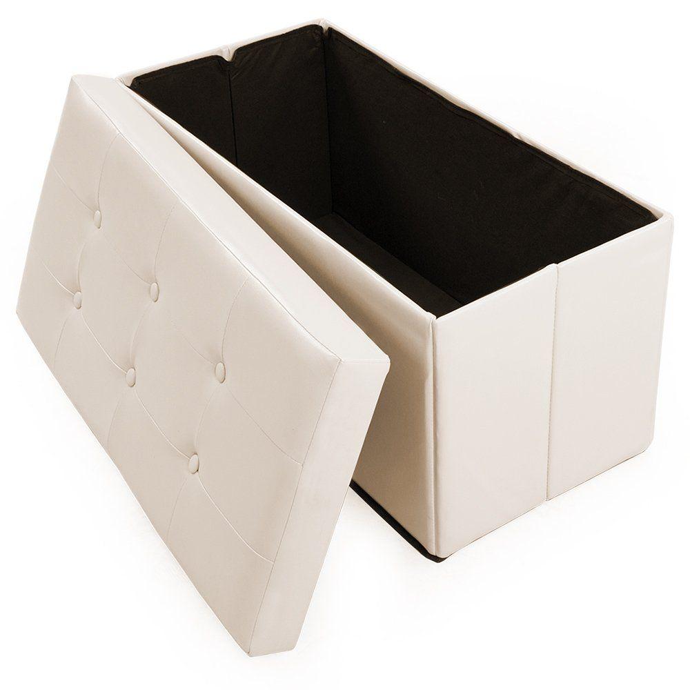 tectake 80x39x40 cm sgabello pieghevole cassapanca pouf. Black Bedroom Furniture Sets. Home Design Ideas