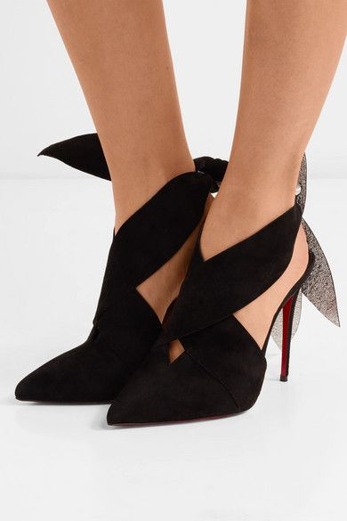 Christian Louboutin Christian Louboutin - Roland Mouret Ramour 100 Suede And Metallic Textured-leather Pumps - Black