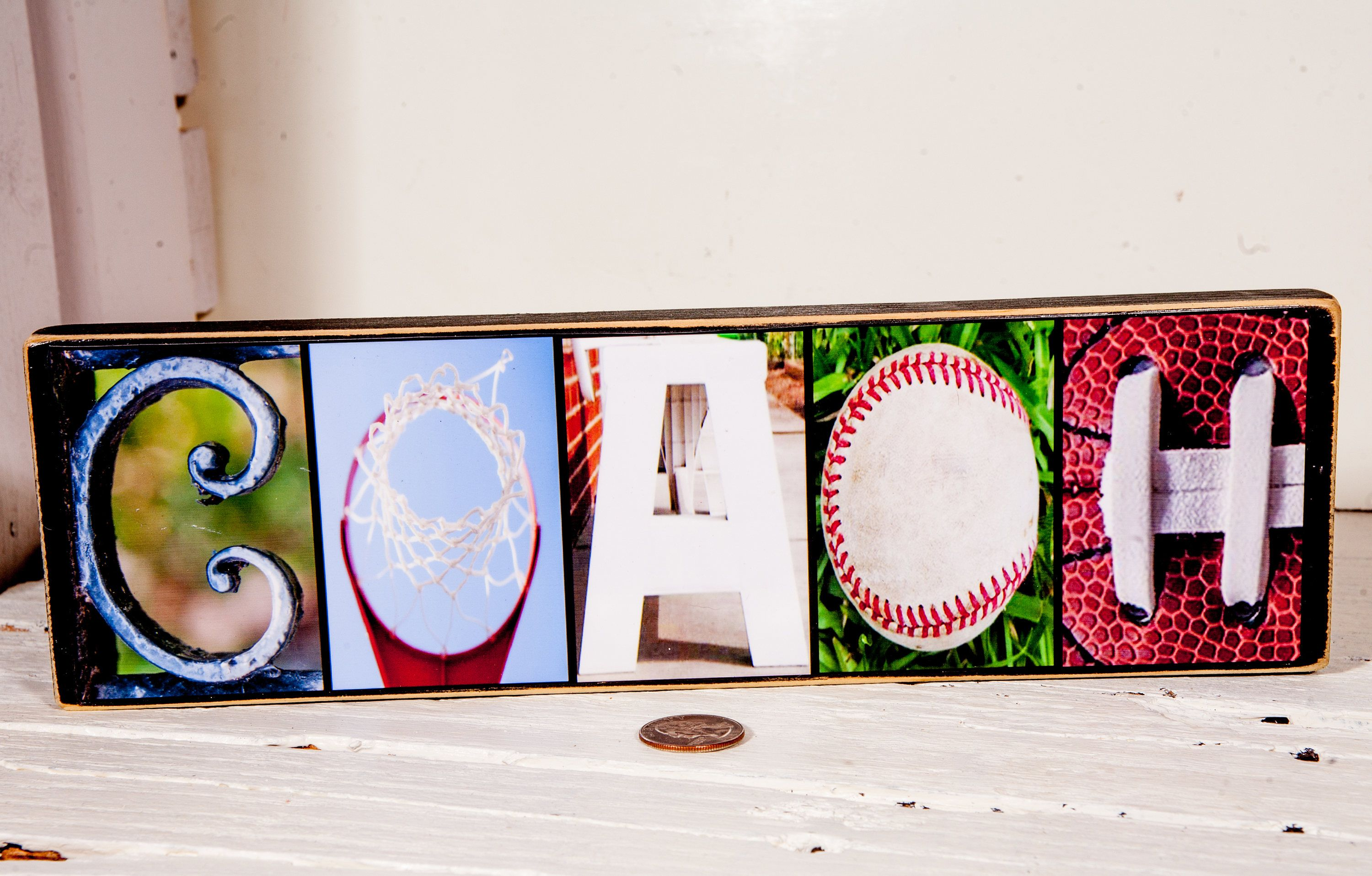 Coach Letter Photography Sign Desk Gift Sports Personalized