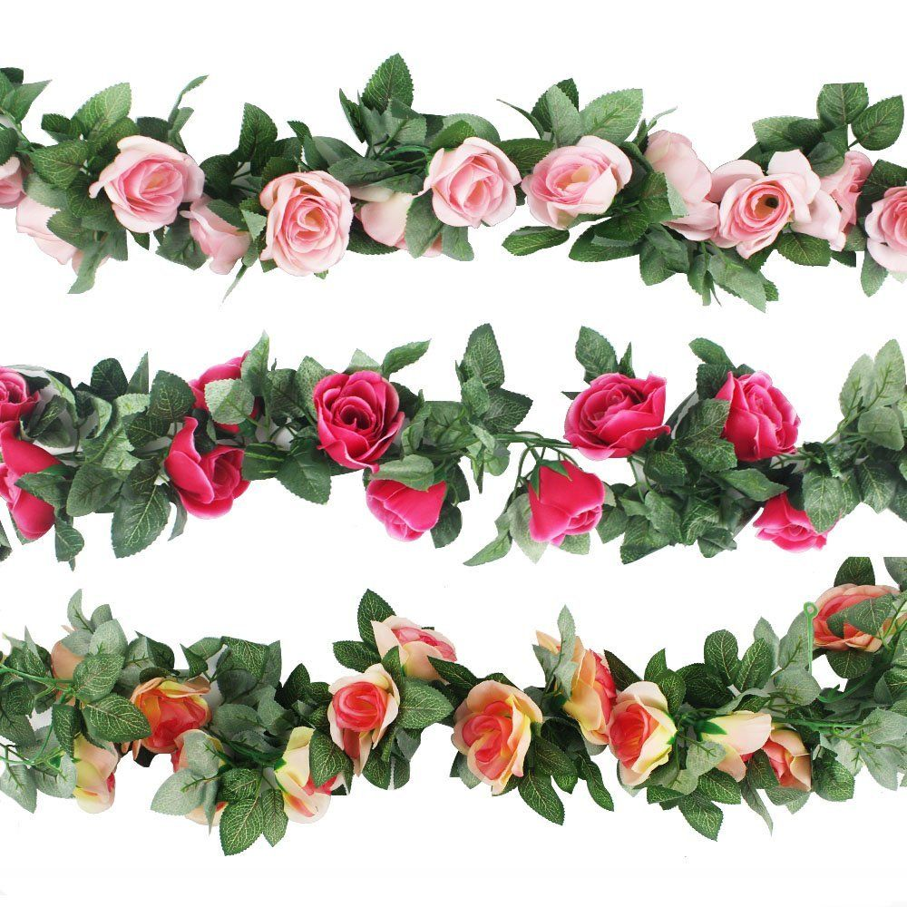 Amazon Cewor 3pcs 226 Feet Artificial Rose Vine Fake Flower
