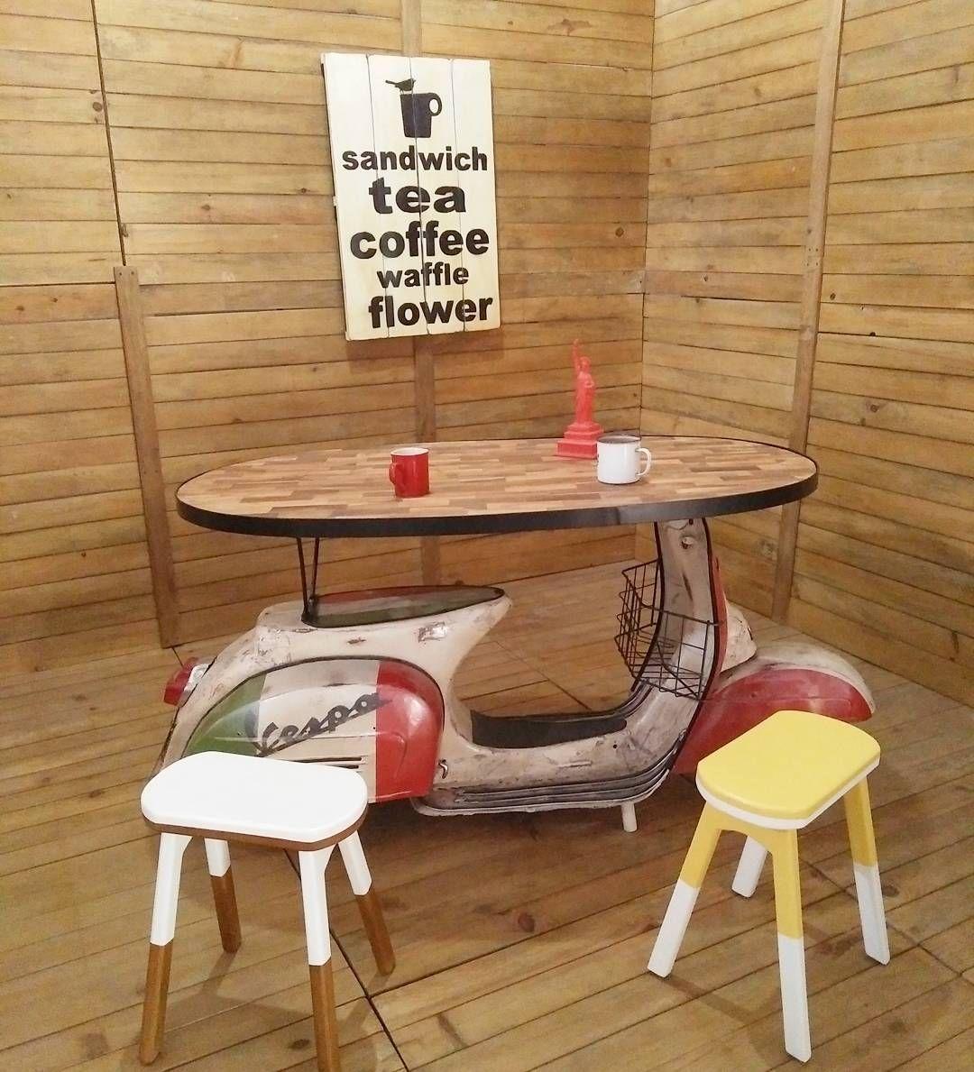 set of vespa table. #alldecos #vespa | automotive decor, car