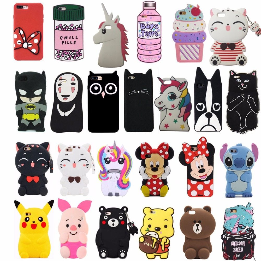 3d cartoon animal cute cat soft silicone back cover for