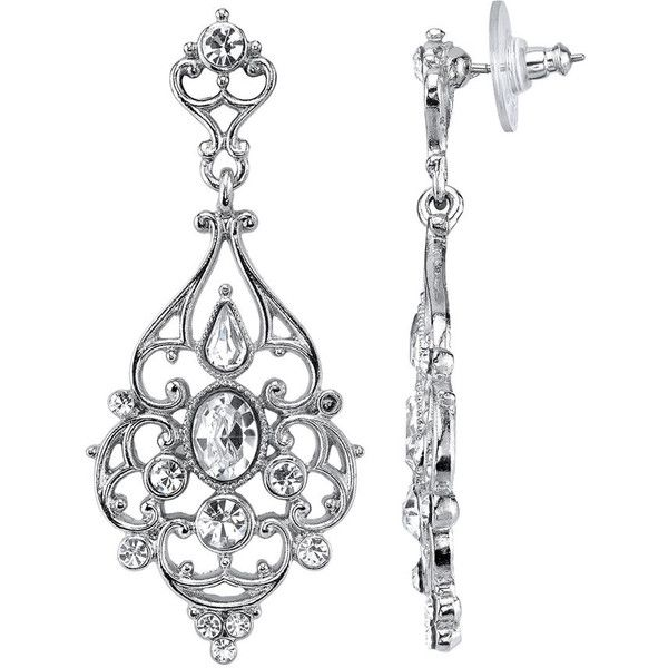 1928 Crystal Filigree Chandelier Earrings 39 Liked On Polyvore Featuring Jewelry