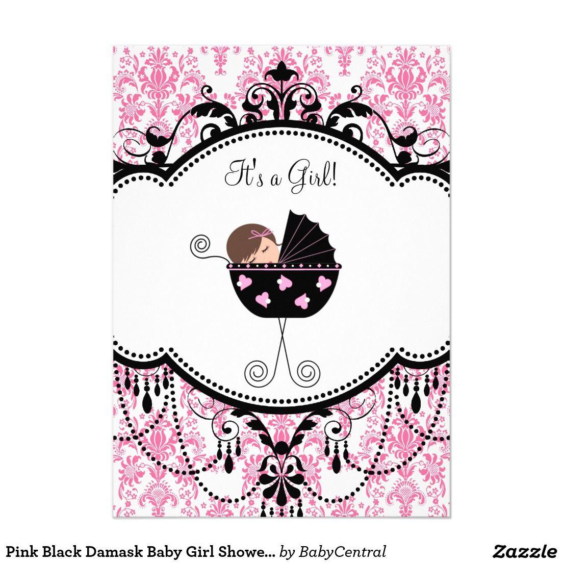 Pink Black Damask Baby Girl Shower Invitations 5\