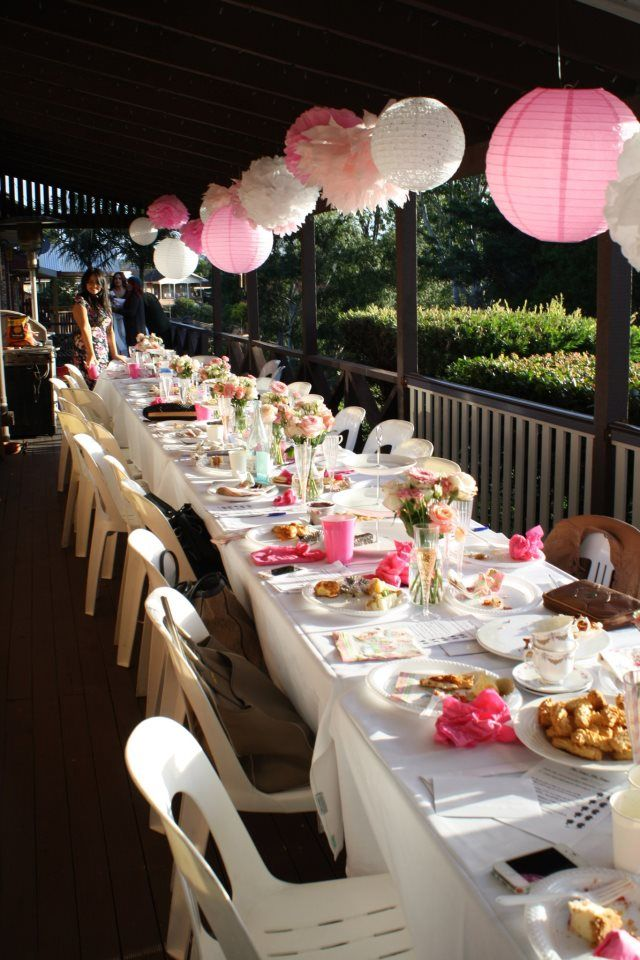 Kitchen Tea / Bridal shower / Baby shower decorations / Pink  Decorations over table -- Idea.