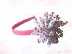 Groen, roze en wit met groene en roze stippen (polkadot) | Diademen | Hippe Girls!
