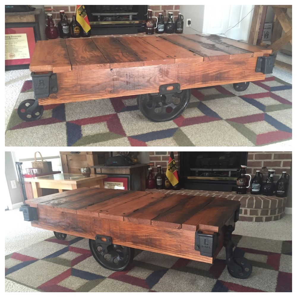 Wood Flatbed Cart Lineberry Cast Iron Coffee Table Industrial ...