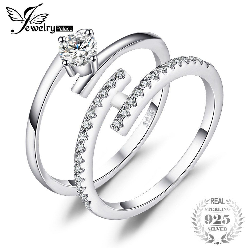 88b16ccf69ee Cheap JewelryPalace Boda nupcial conjunto anillo cúbico Zirconia 2 unidades  anillos de dedo redondo sólido 925