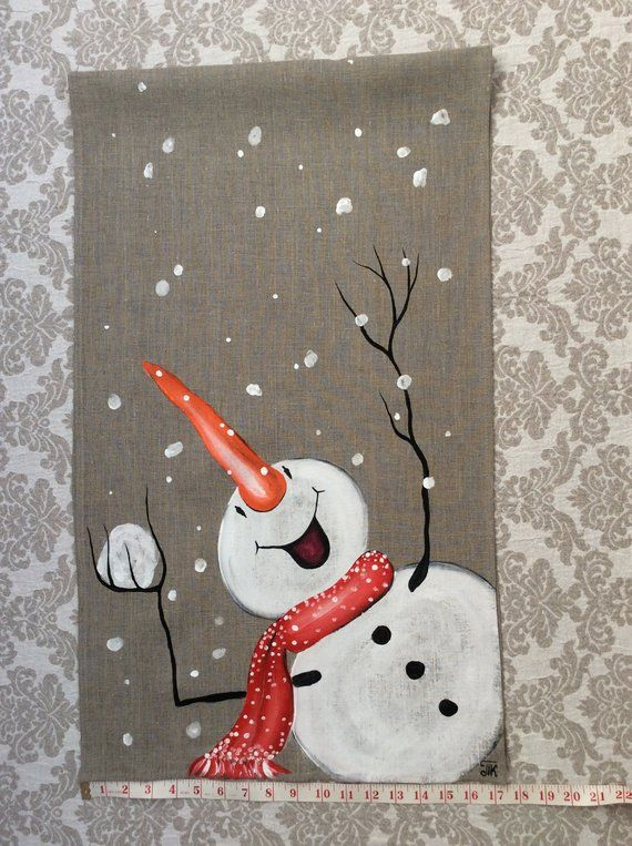 Snowman Hand-painted Table Runner Snowball Christm