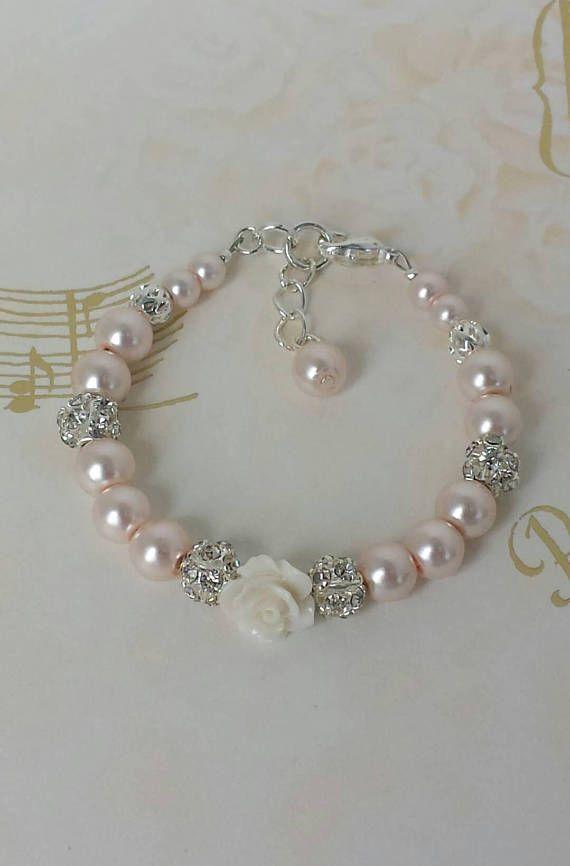3e093a3c84e4 Pulseras de perlas pulsera bebé pulsera Perla bebé muchacha