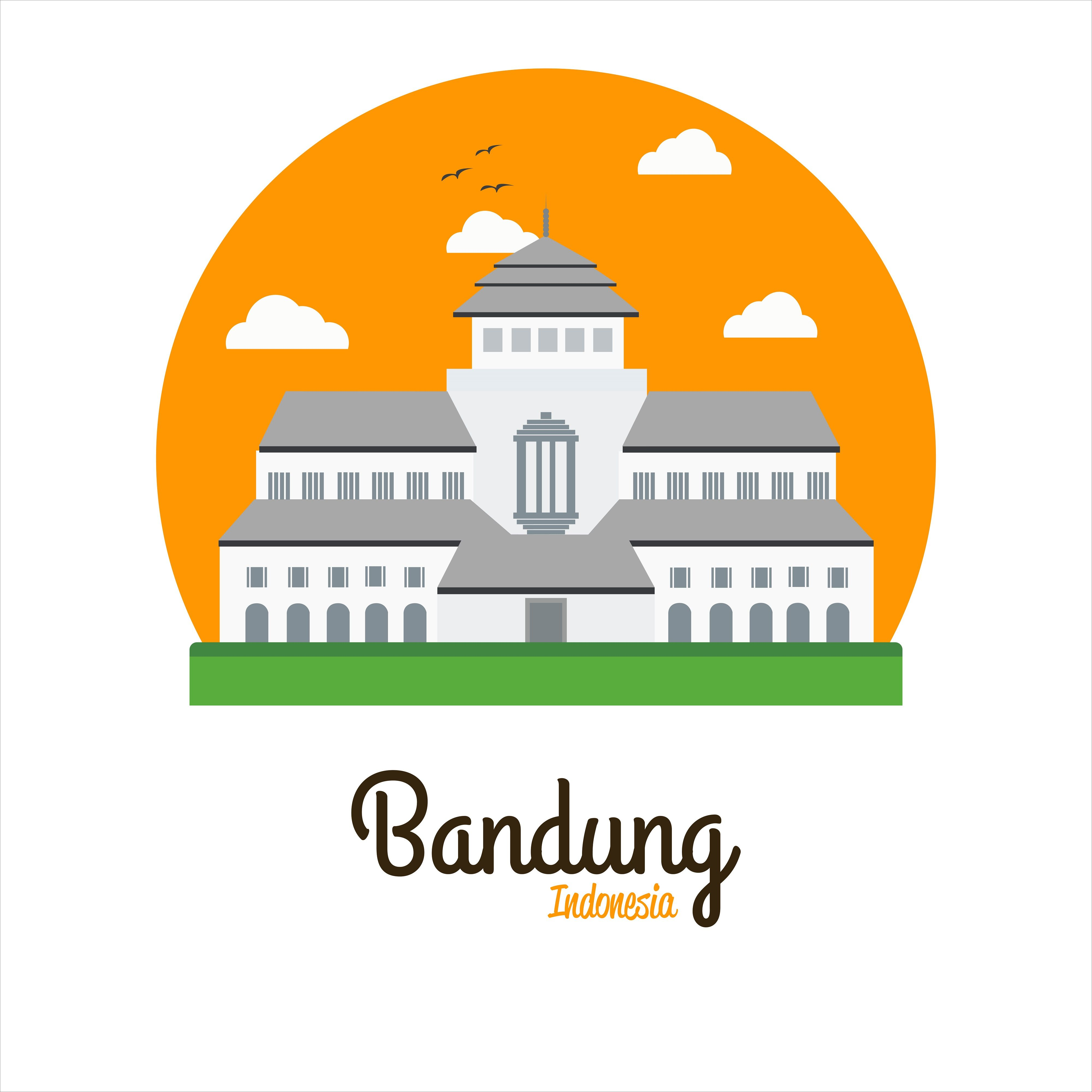 Gedung Sate Vector Illustration The Icon Of Bandung West Java Indonesia Bandung Postcard Design Inspiration Vector Illustration