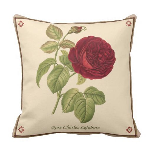 Rose Charles Lefebvre Pillow, by Joy McKenzie, in several styles/sizes/fabrics, on Zazzle.com