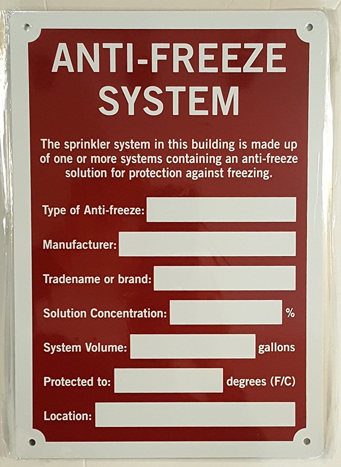 Details about antifreeze system sign aluminium rust free