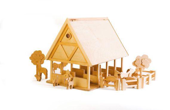 granja de madera para nios con set de animales por toys farm