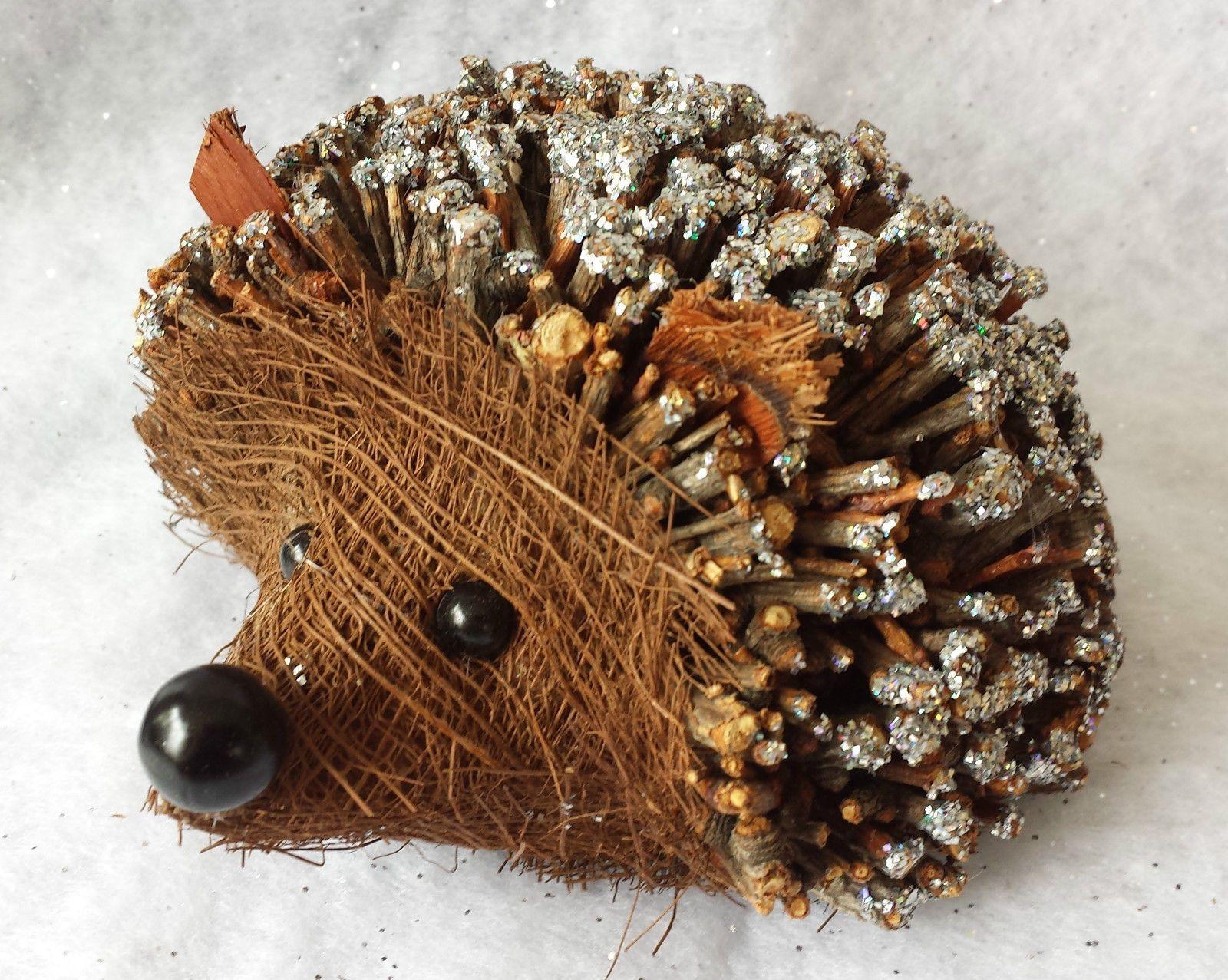 Twig and Glitter Christmas Hedgehog Decoration Wicker