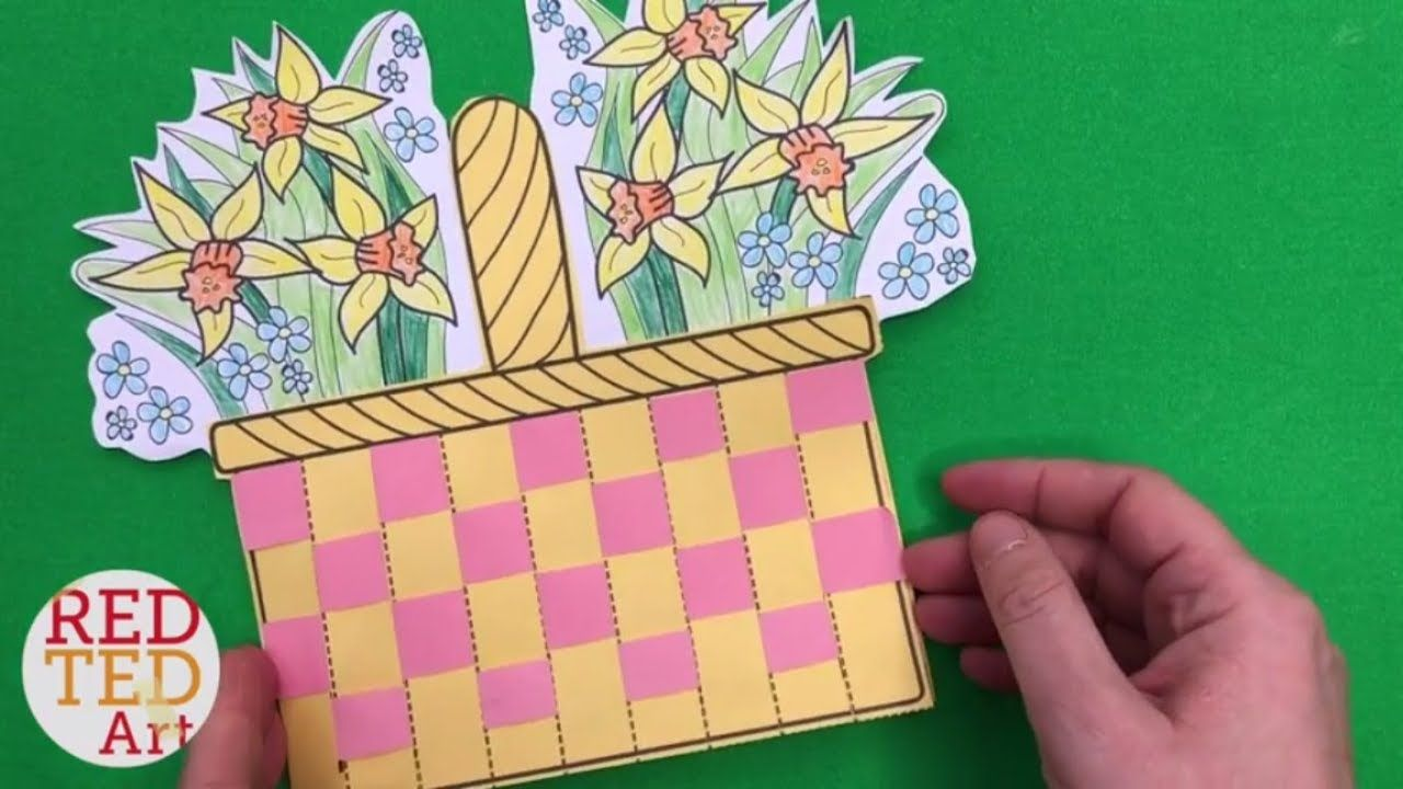 Flower Basket Paper Weaving Card With Template Diy Mother S Day